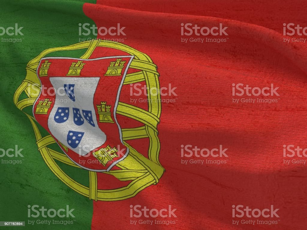 Fabric texture flag of Portugal. stock photo