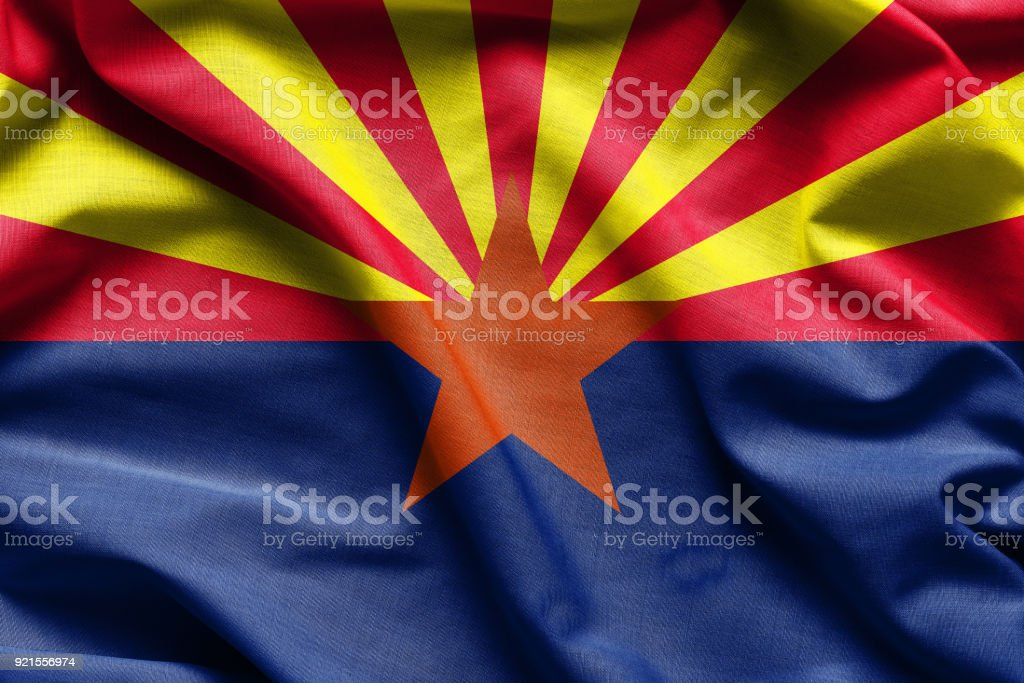 Fabric texture of the Arizona Flag - Flags from the USA stock photo