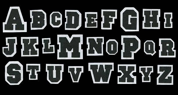 fabric varsity alphabet stock photo