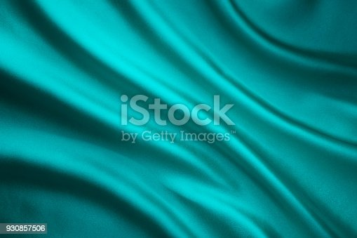 859441184istockphoto Fabric Waving Silk Background, Teal Satin Cloth, Wave Shape 930857506