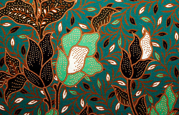 Fabric with floral batik pattern stock photo