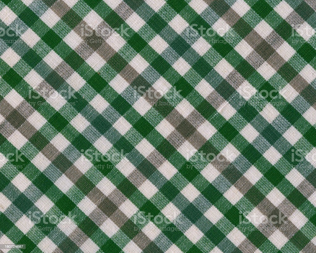 fabric with green gingham pattern royalty-free stock photo