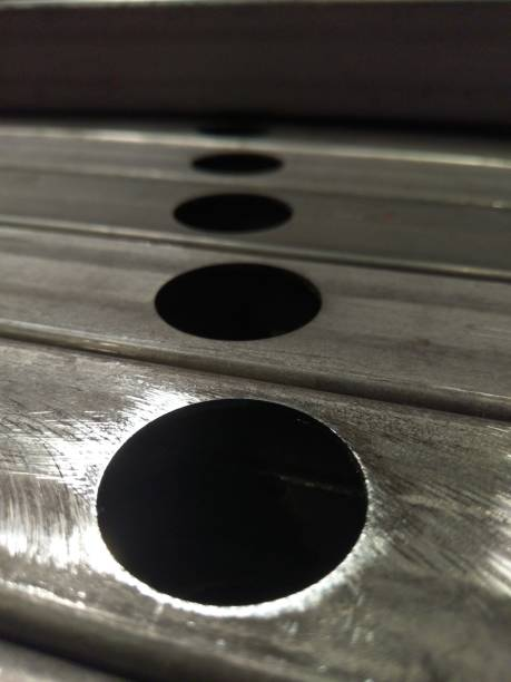 Fabricated Steel Box With Holes stock photo