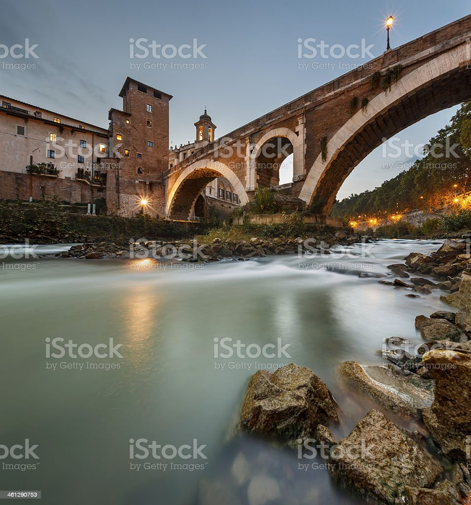 Fabricius Bridge and Tiber Island at Twilight, Rome, Italy stock photo