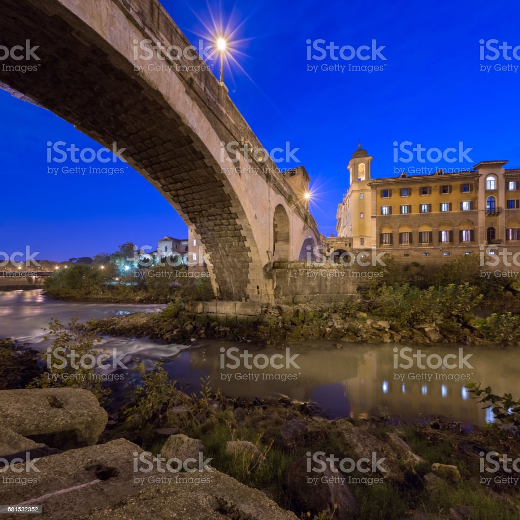 Fabricius Bridge and Tiber Island in the Evening, Rome, Italy stock photo