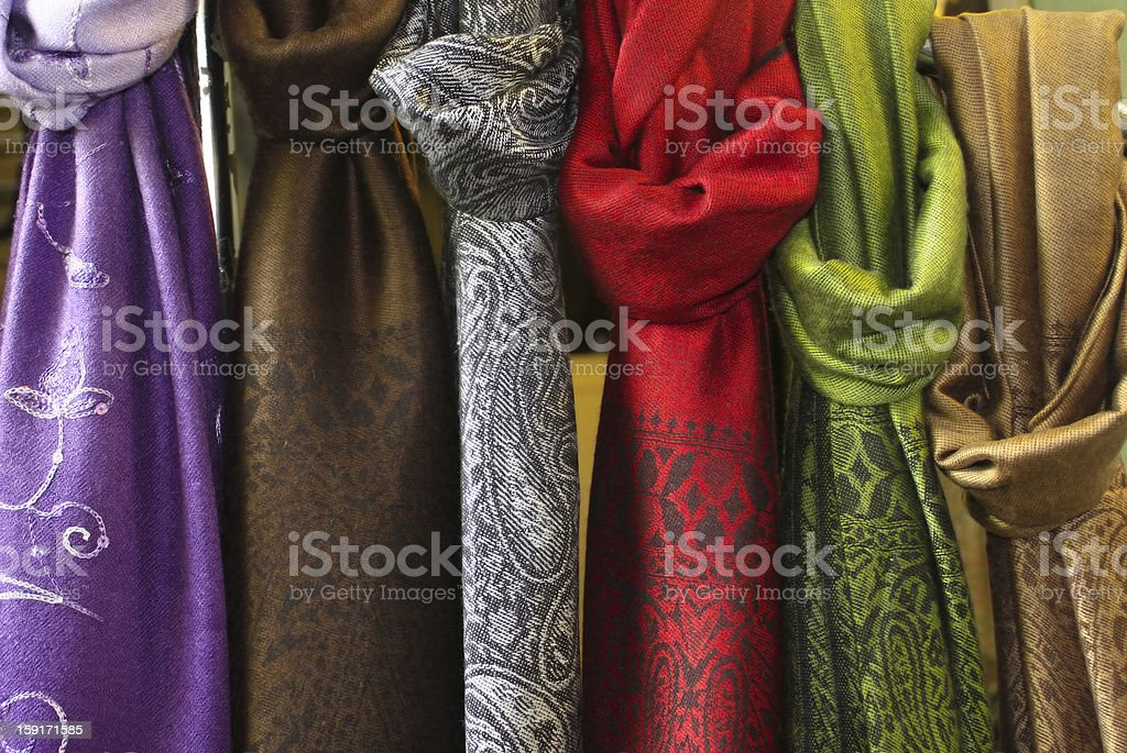 Fabrics in different colors stock photo