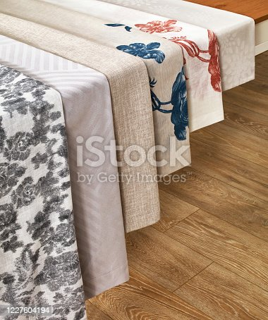Variation of table cloths on table