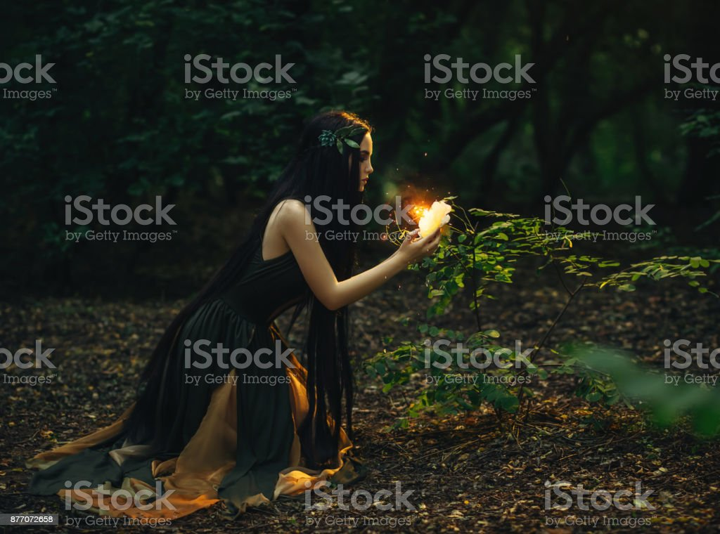 A fabulous, forest nymph with long hair stock photo