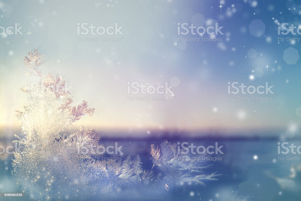Fabulous frost on the window, beautiful landscape stock photo