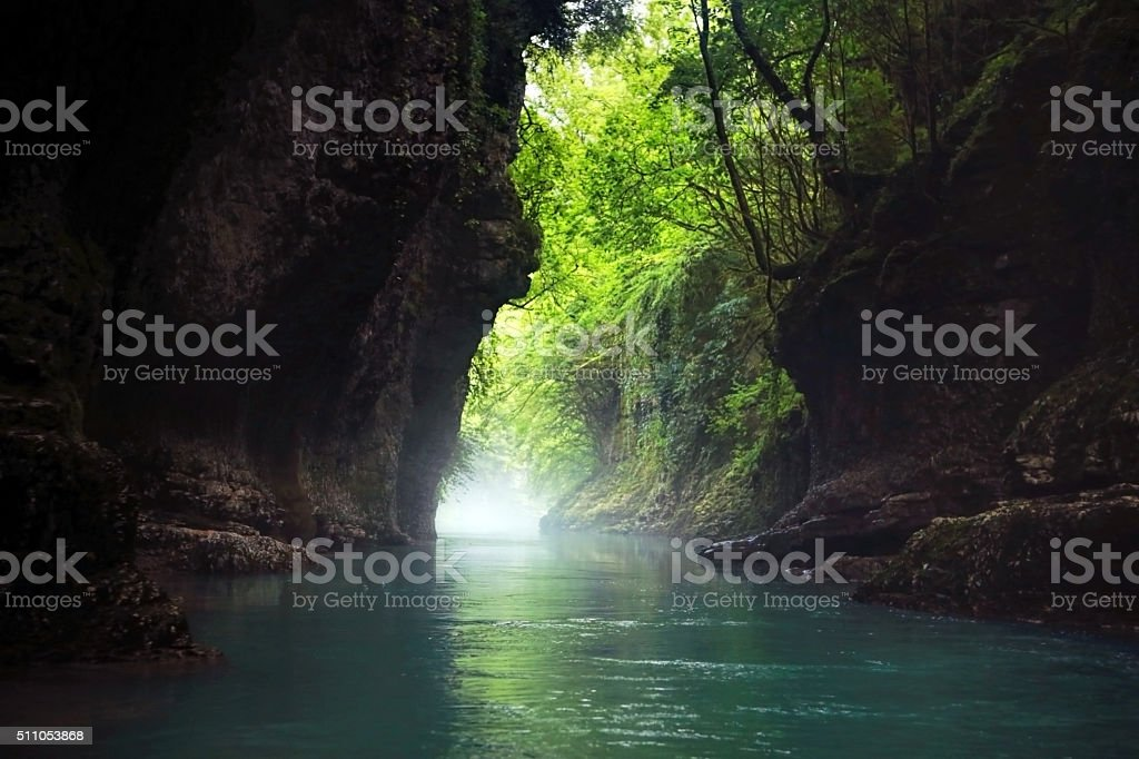 Fabulous mystical canyon. stock photo