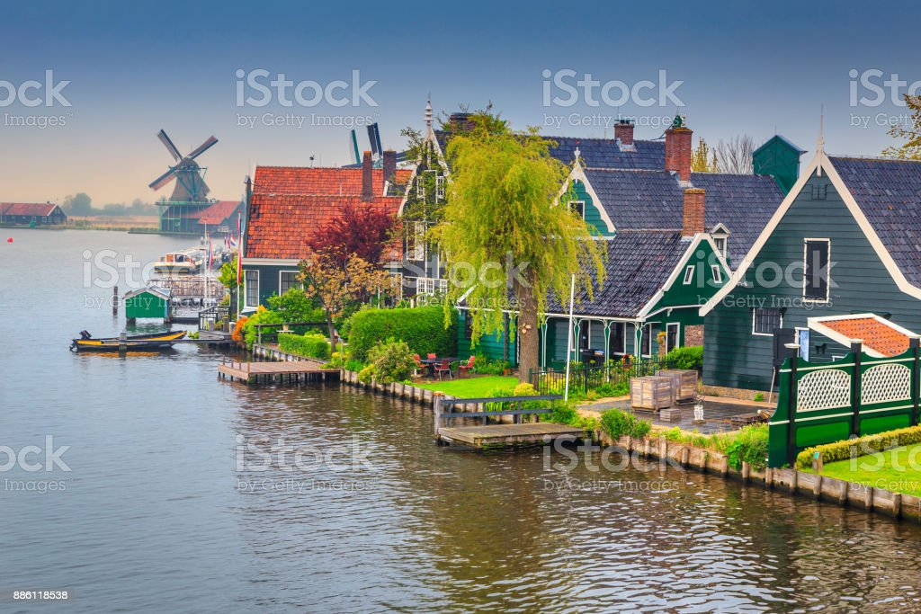 Fabulous touristic village Zaanse Schans, near Amsterdam, Netherlands, Europe stock photo