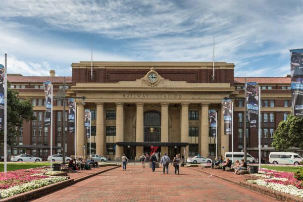 Facade and main entrance to Wellington Railway Station. stock photo