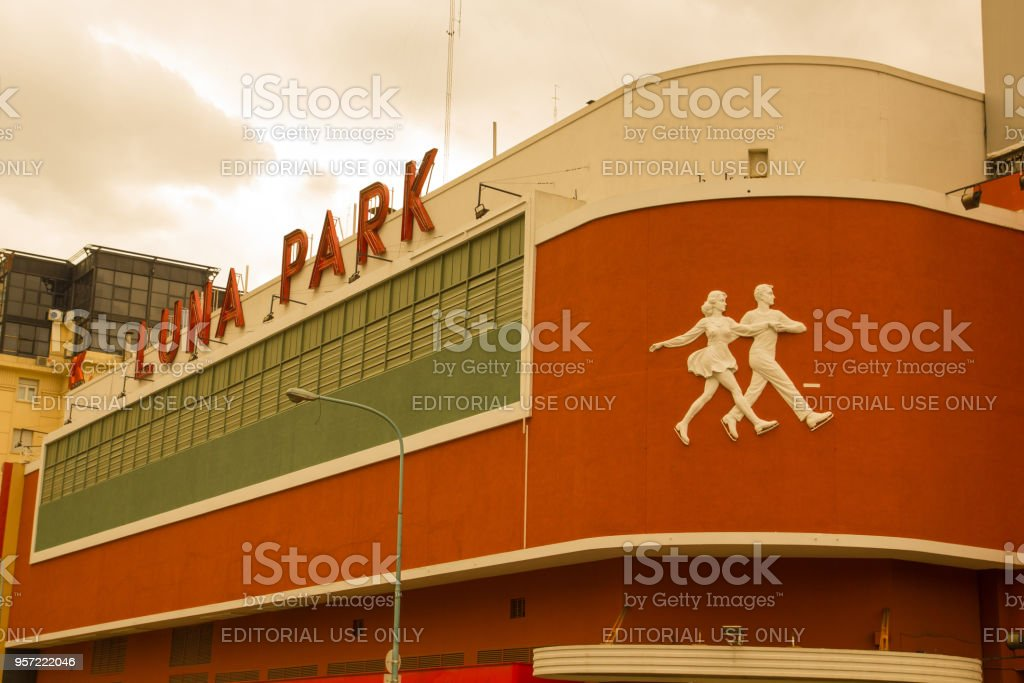 Facade and sign of the famous Luna Park, traditional indoor stadium in Buenos Aires where artistic and sports activities are held, founded in 1931. stock photo