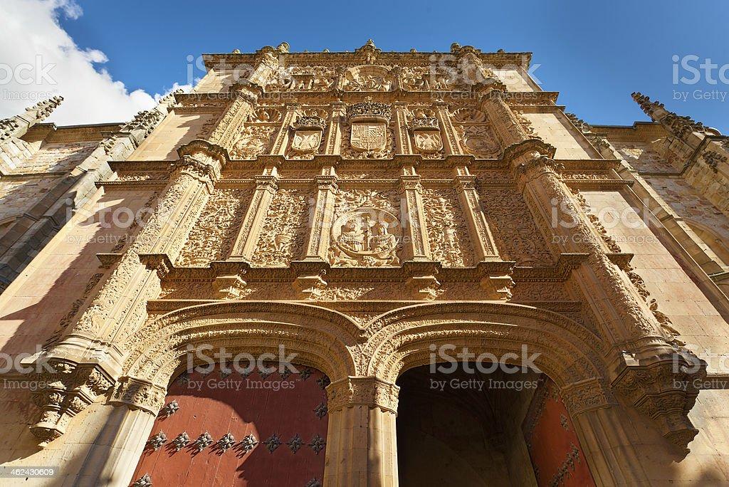 Facade at the University of Salamanca stock photo