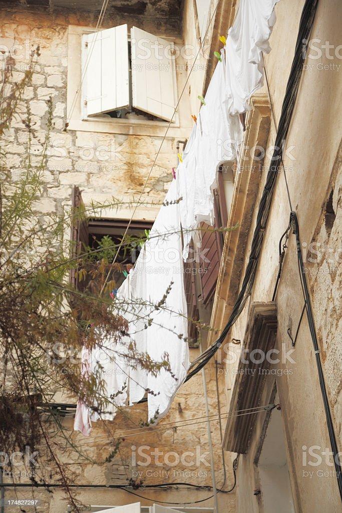 facade backyard with laundry Zadar Croatia royalty-free stock photo