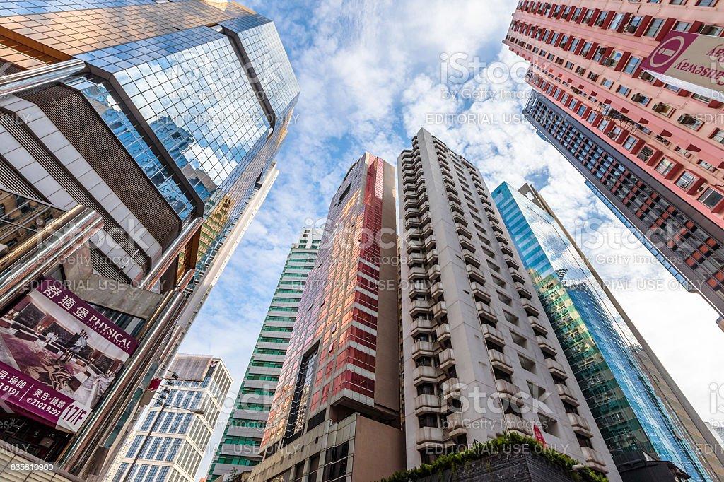 Facade buildings Hong Kong stock photo