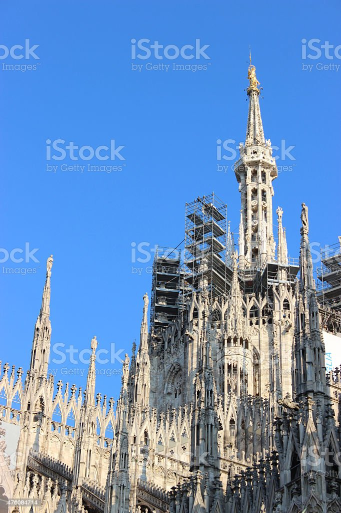 Facade buttresses - Milan Cathedral stock photo