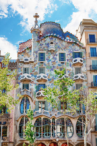 facade Casa Battlo or house of bones by Antoni Gaudi Barcelona, Spain - 18 April, 2016: The facade of the house Casa Battlo or thr house of bones designed by Antoni Gaudi with his famous expressionistic style casa batllo stock pictures, royalty-free photos & images