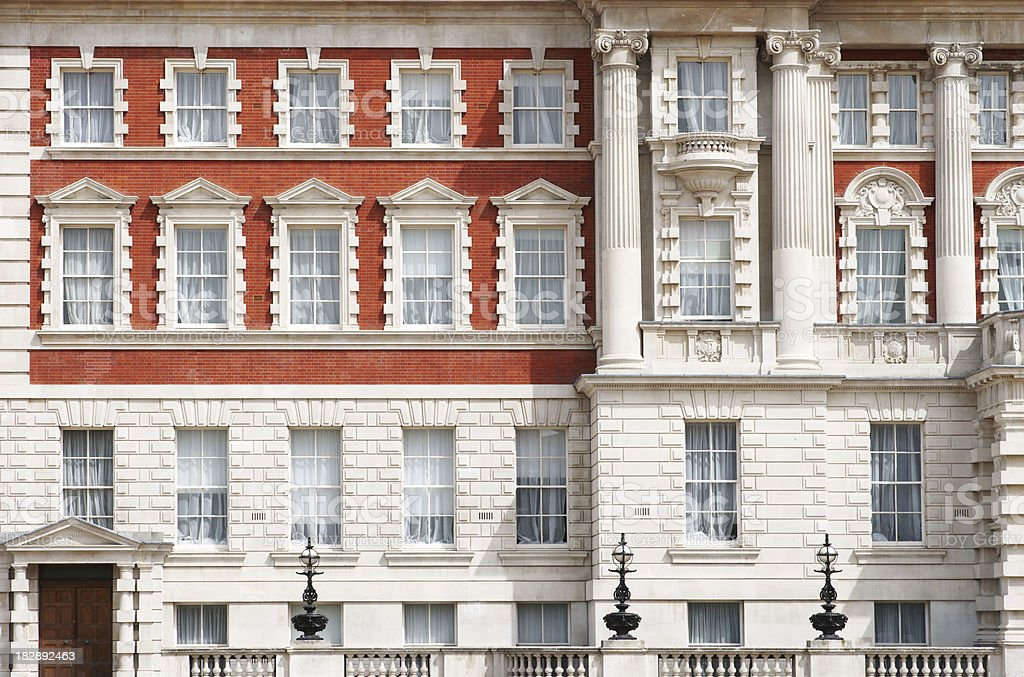 Facade detail on Whitehall in London Westminster stock photo
