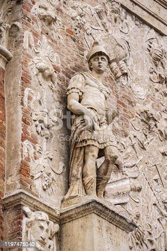 Detail from facade of Loggia del Capitaniato, designed by Andrea Palladio and built at 1572