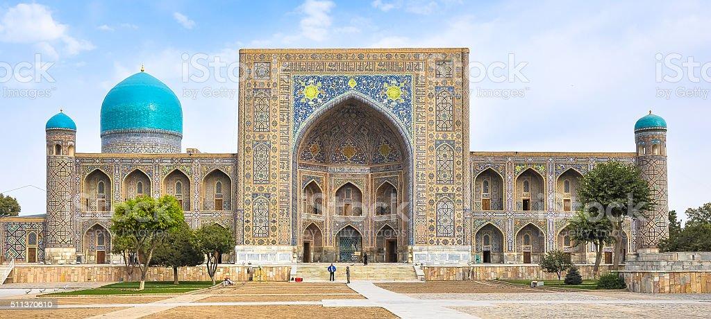 Facade madrasas in Registan Square in Samarkand stock photo