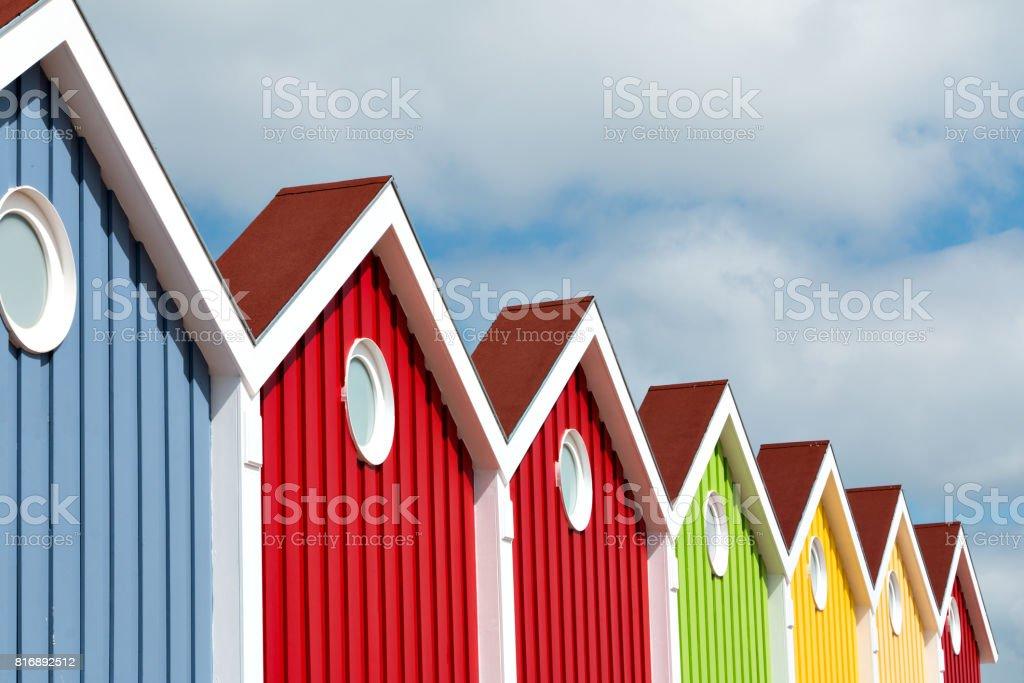 Facade, Multi Colored, Langeoog Island stock photo