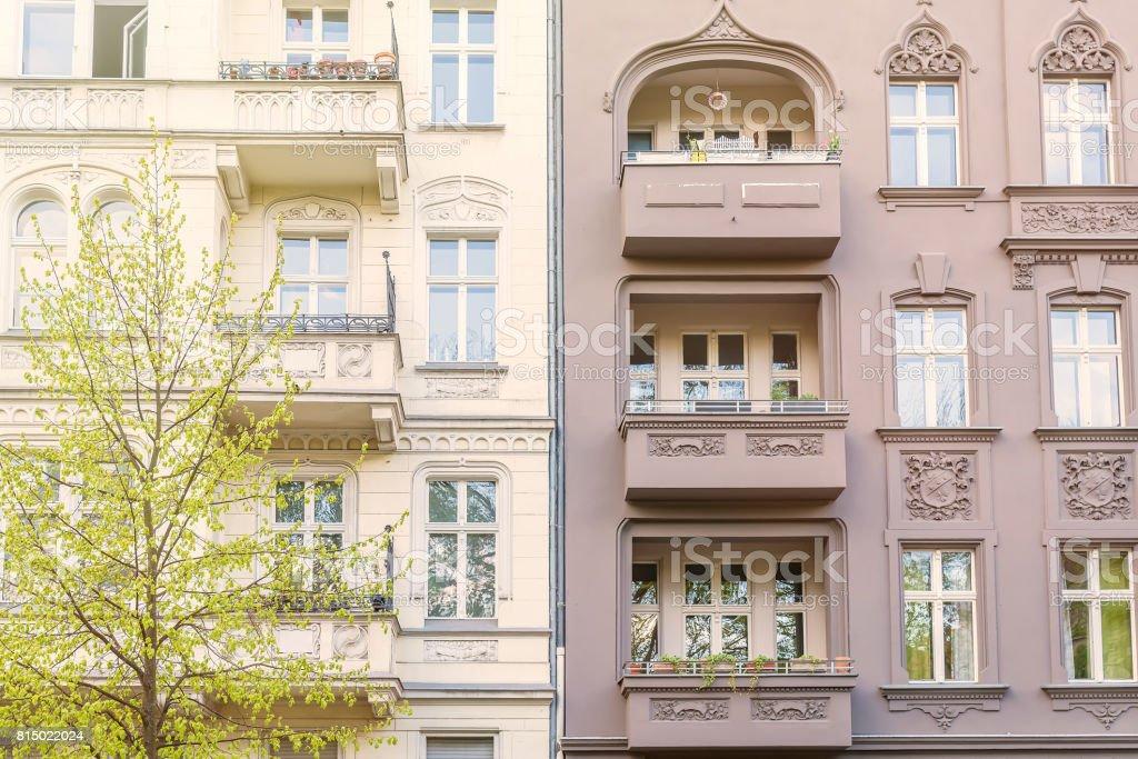 facade of a beautiful old building in Berlin Kreuzberg stock photo