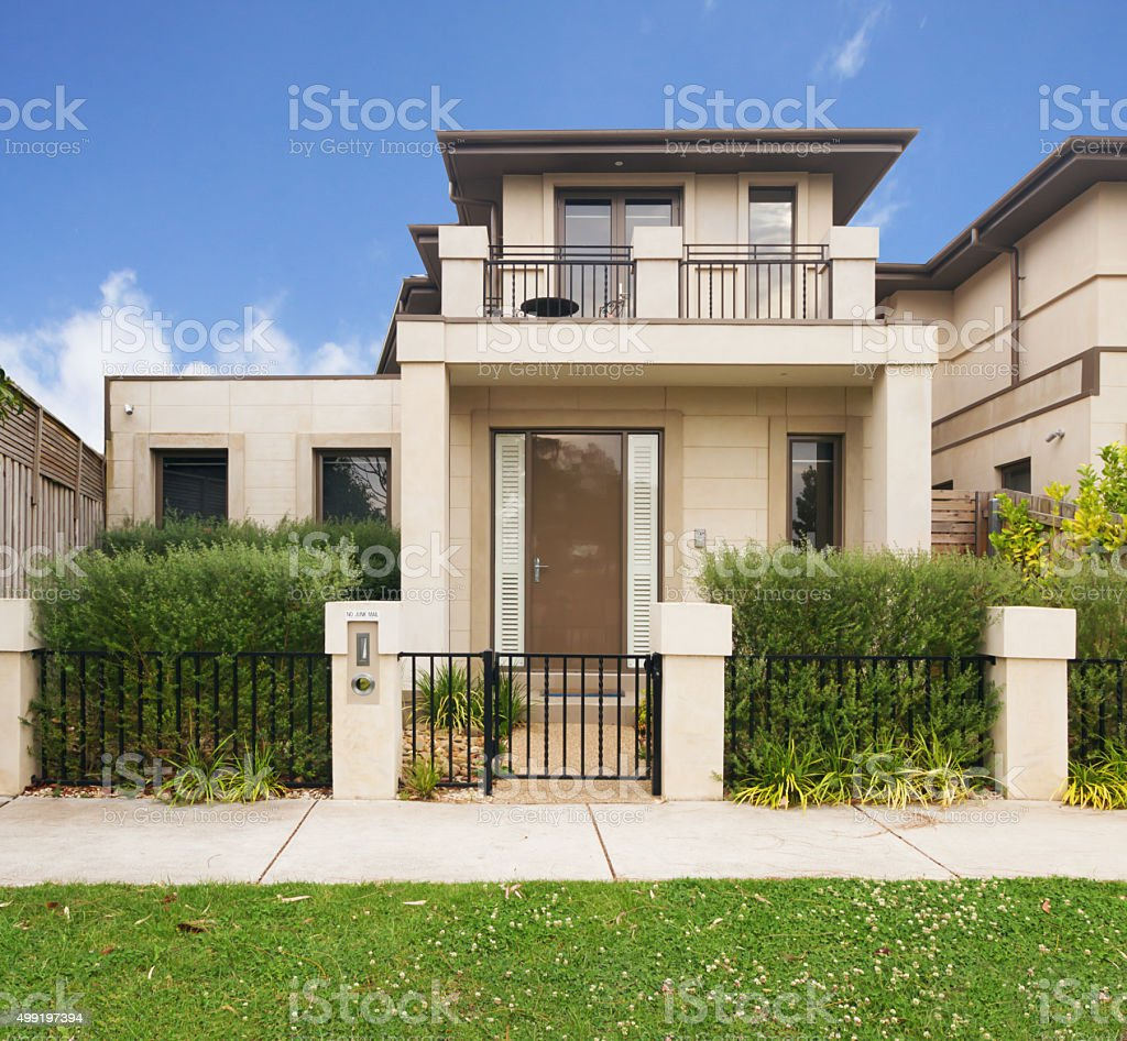 Facade of a contemporary townhouse in Melbourne Australia stock photo