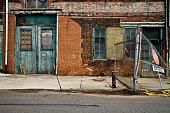 istock Facade of a grungy abandoned urban warehouse 108196073