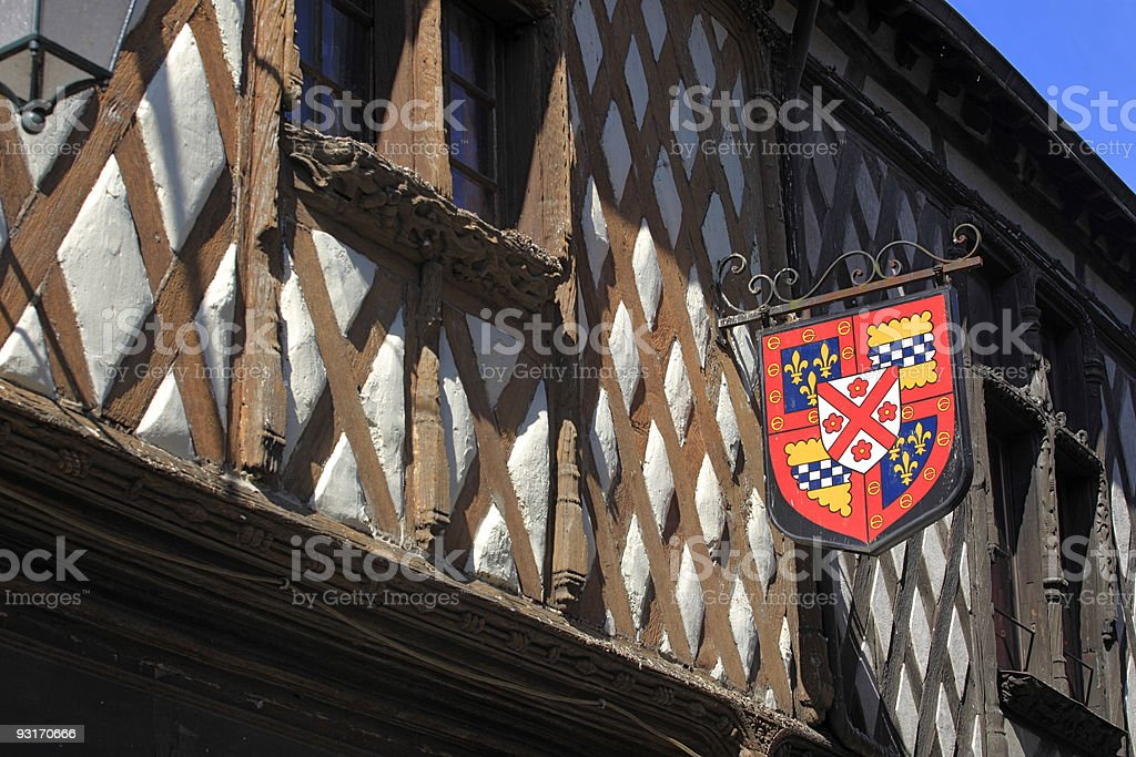 facade of a half-timbered house at Aubigny-sur-Nère royalty-free stock photo
