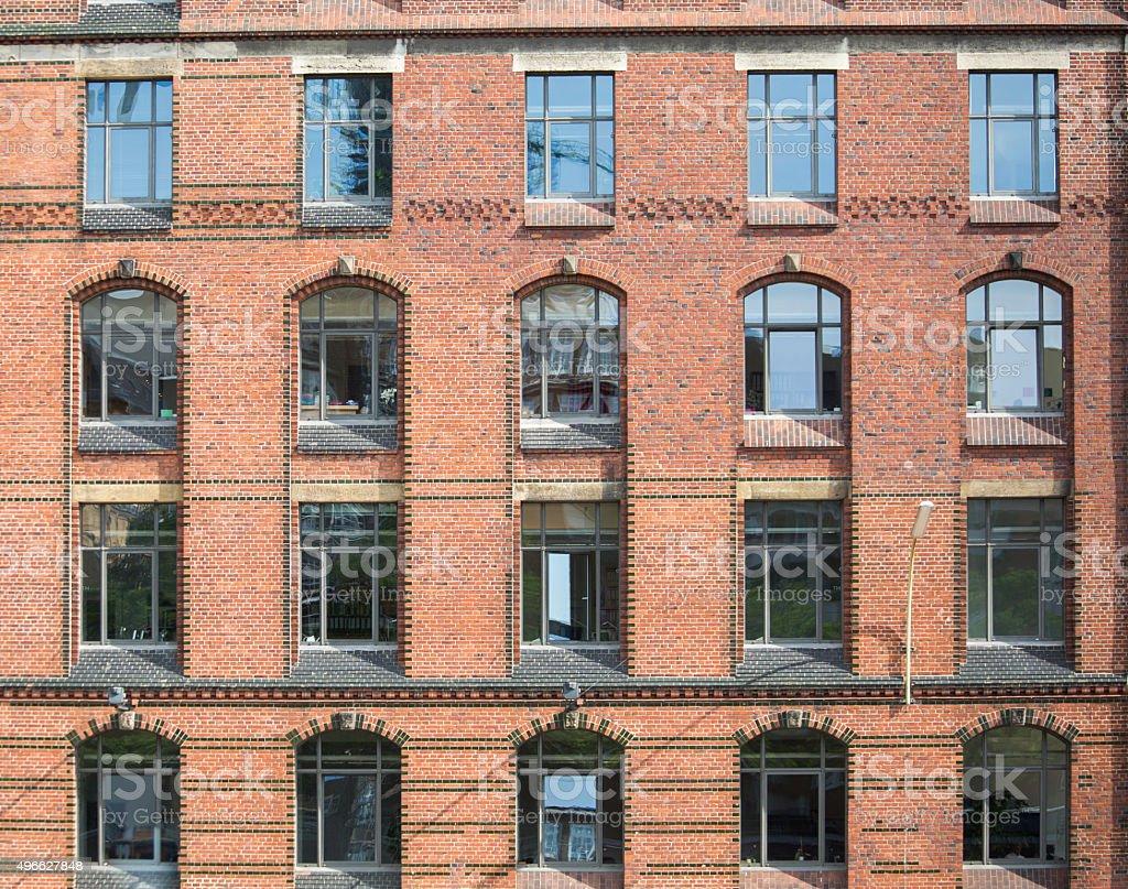 Facade of a historic building in the Speicherstadt Hamburg, Germ stock photo