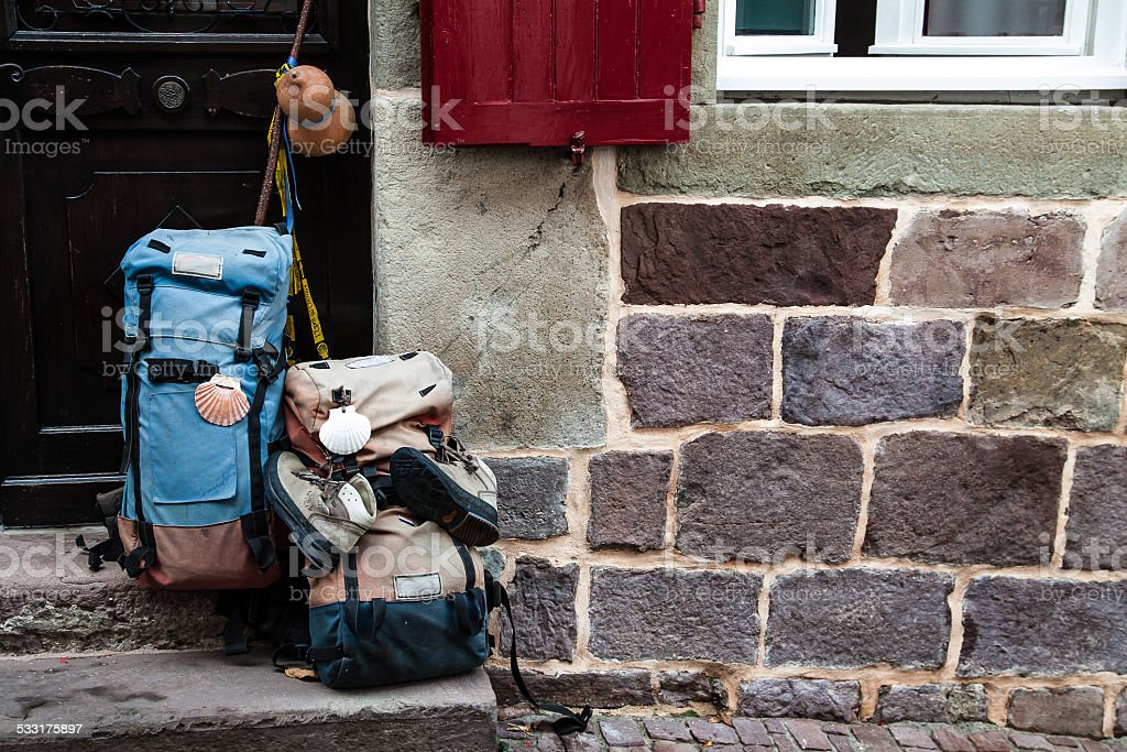 Facade of a hostel for pilgrims traveling to Santiago stock photo