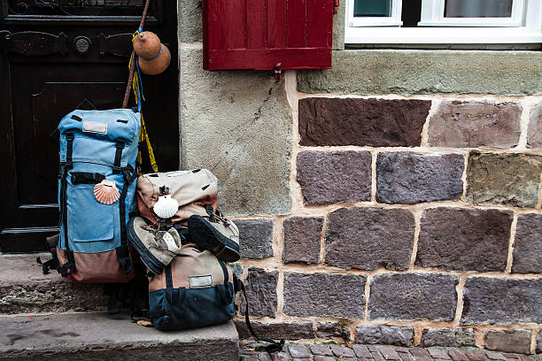 Facade of a hostel for pilgrims traveling to Santiago Facade of a hostel for pilgrims traveling to Santiago pilgrim stock pictures, royalty-free photos & images