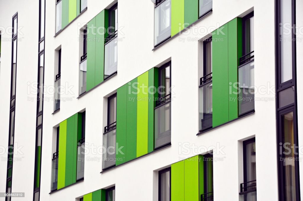 Facade of a modern apartment building stock photo