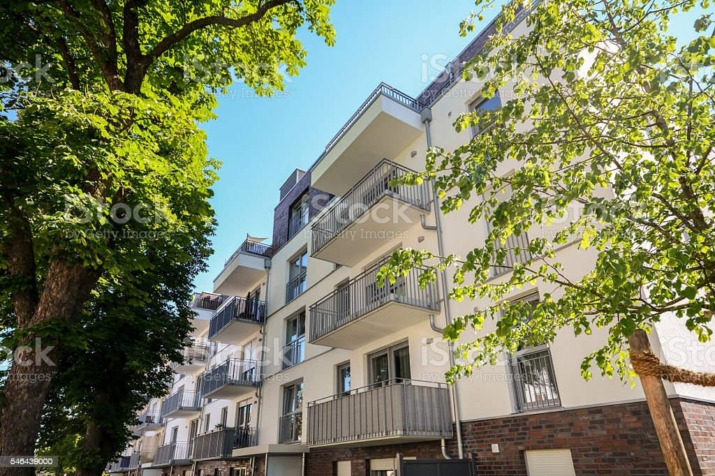 Facade of a modern residential building in the city center stock photo