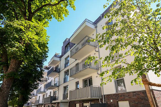Facade of a modern residential building in the city center stock photo