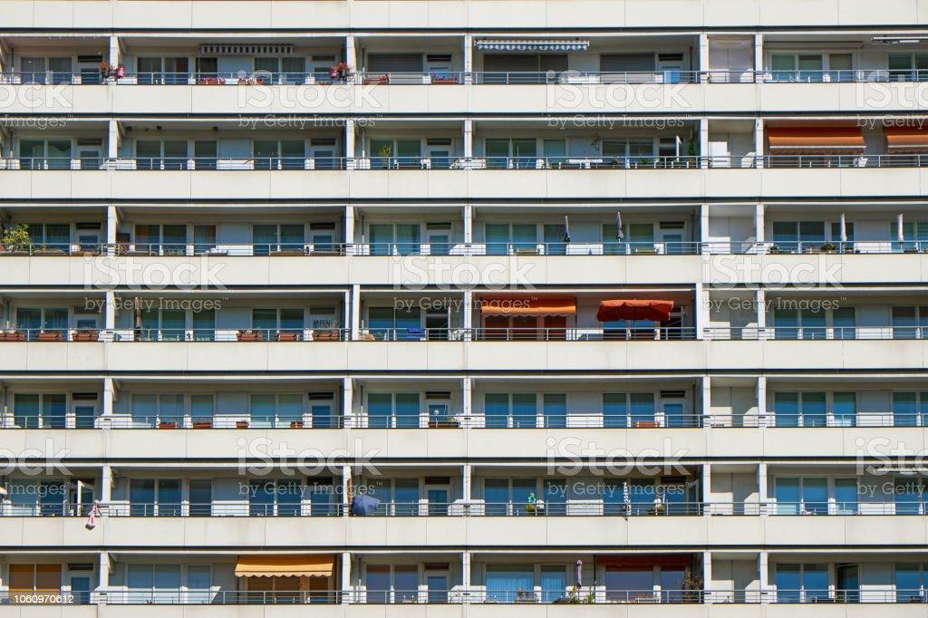Facade of a prefabricated public housing building stock photo