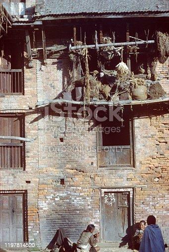 Kathmandu, Nepal, 1976. Facade of a residential building in Kathmandu. Also: local.