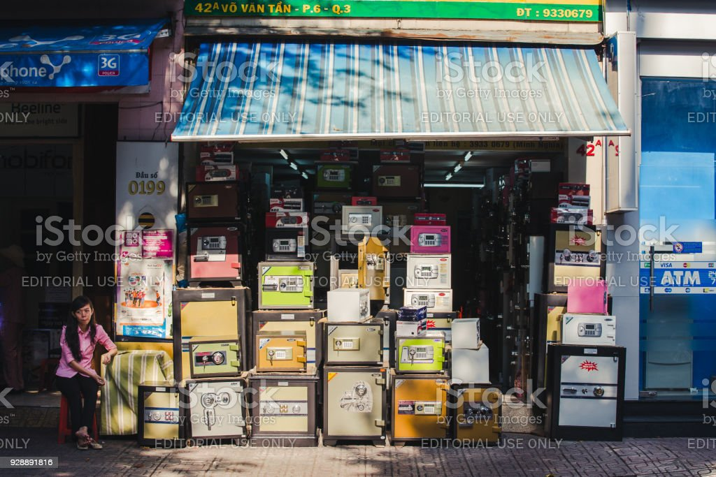 Facade Of A Store Selling Safes Stock Photo - Download Image