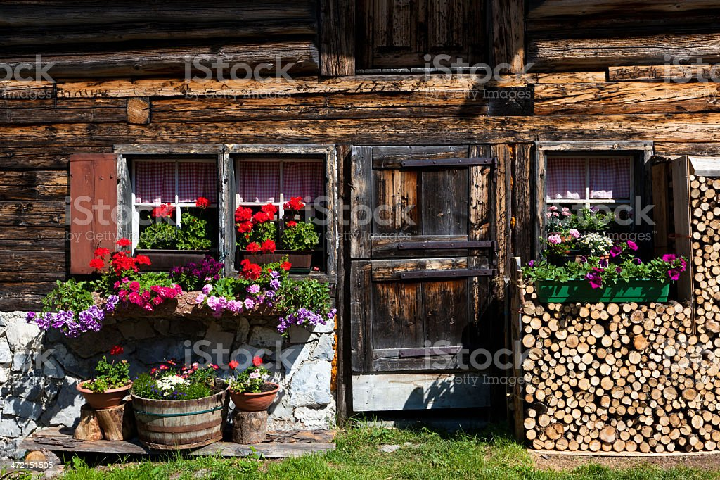 facade of a wooden hut, tyrol, austria royalty-free stock photo
