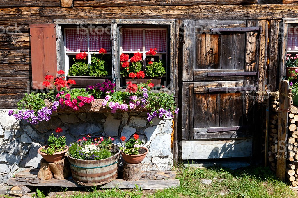 facade of a wooden hut, tyrol, austria stock photo