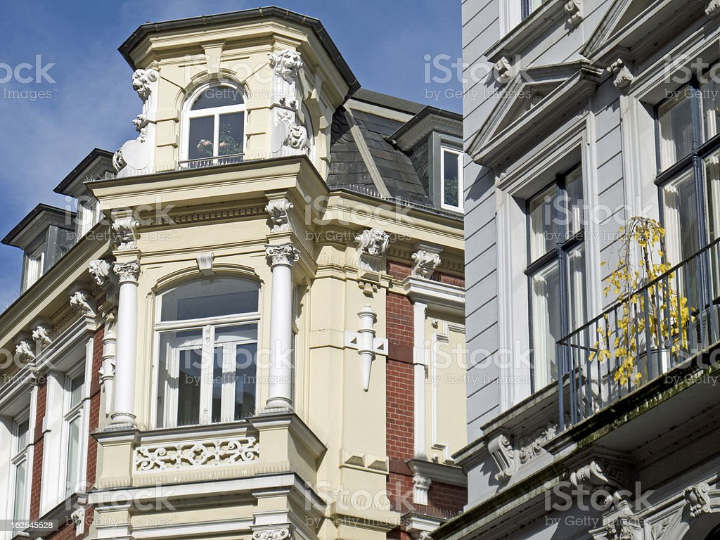 Facade of an art nouveau building in Lübeck, Germany royalty-free stock photo