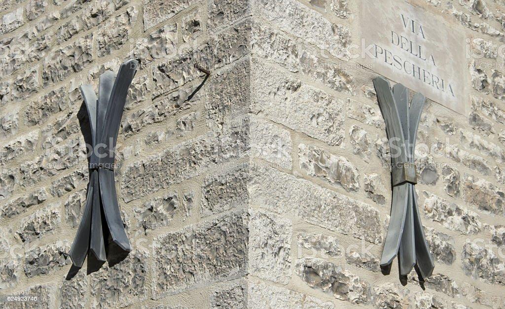 Facade of an old italian masonry. stock photo