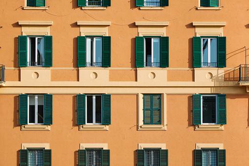 Facade of an orange italian building