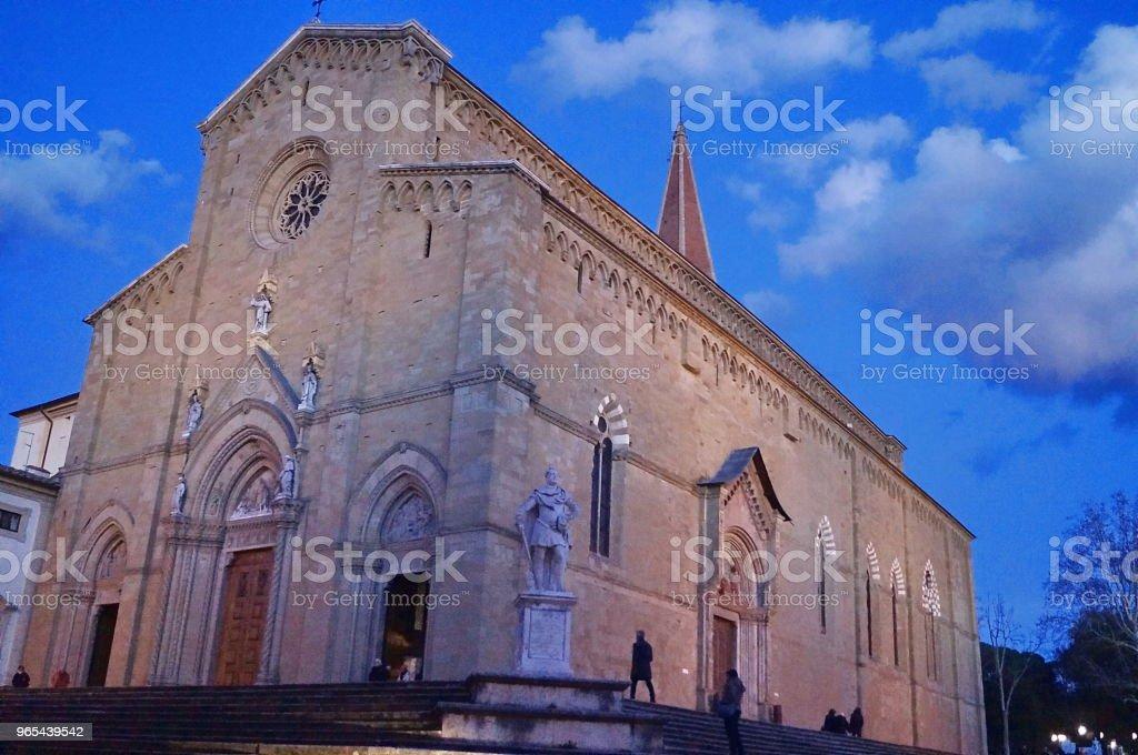 Facade of Arezzo Cathedral at evening zbiór zdjęć royalty-free