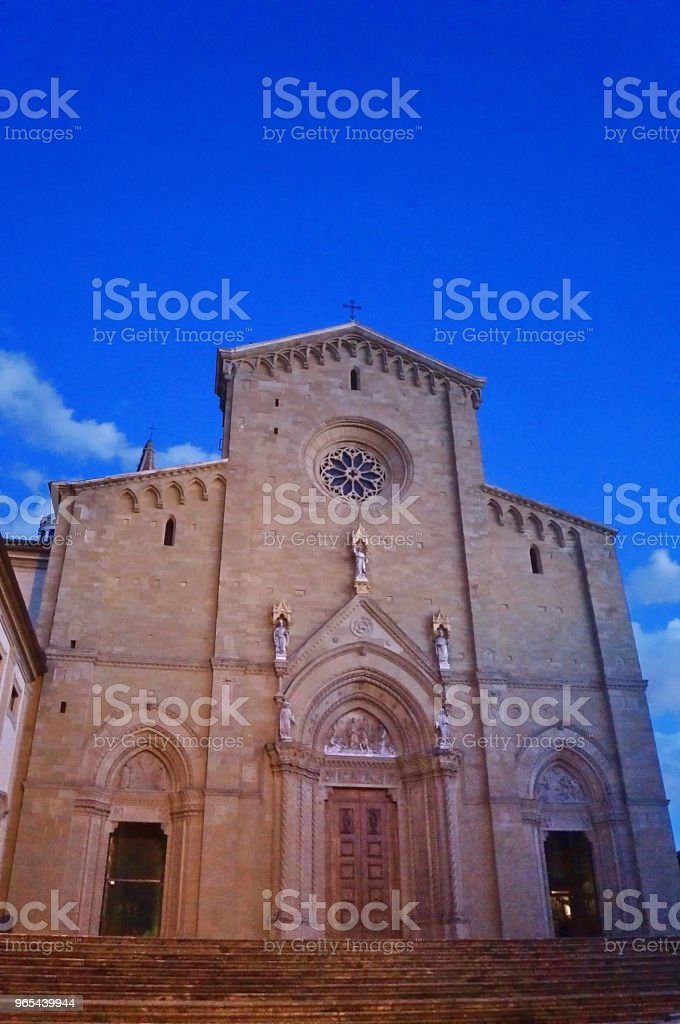 Facade of Arezzo Cathedral at evening royalty-free stock photo