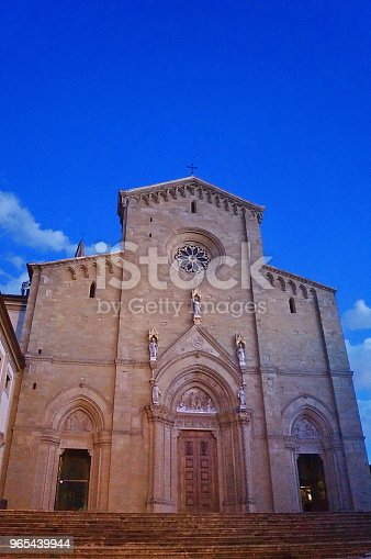 Facade Of Arezzo Cathedral At Evening Stock Photo & More Pictures of Aging Process