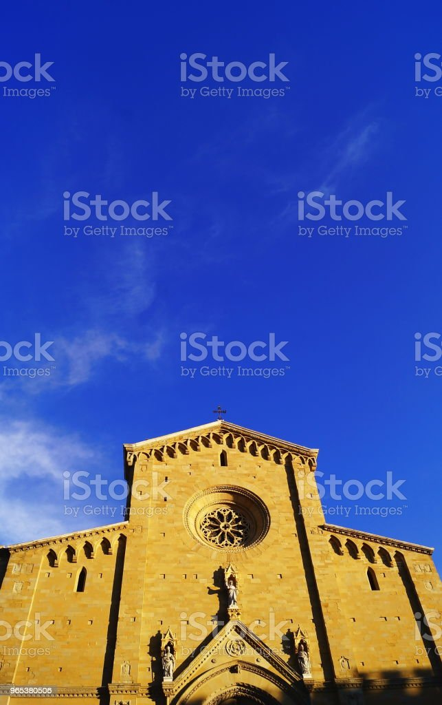 Facade of Arezzo Cathedral royalty-free stock photo