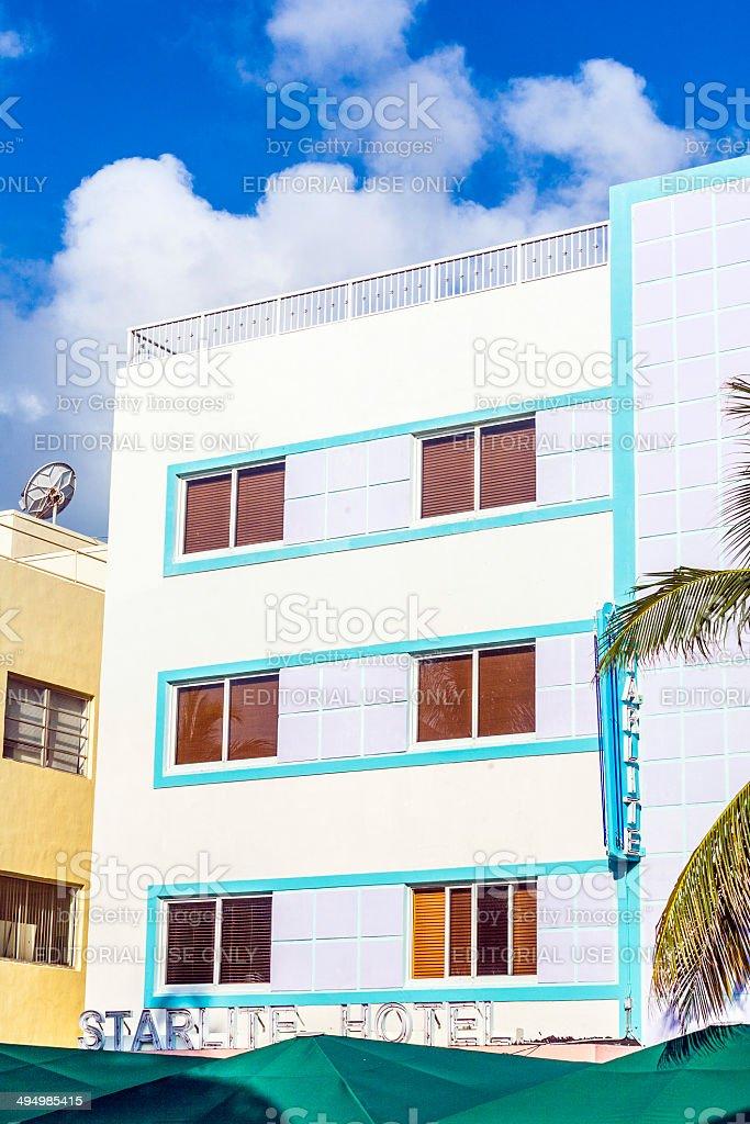 facade of art deco buildings at ocean drive in Miami stock photo