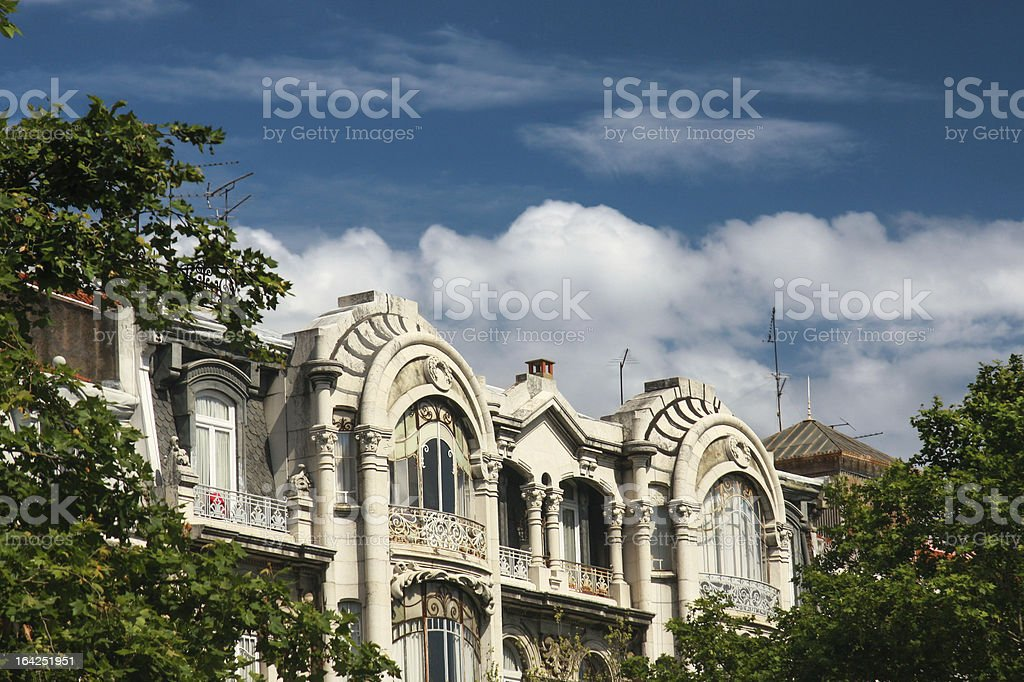 Facade of art nouveau style house royalty-free stock photo